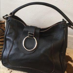 Furla Black Pebbled Leather Purse